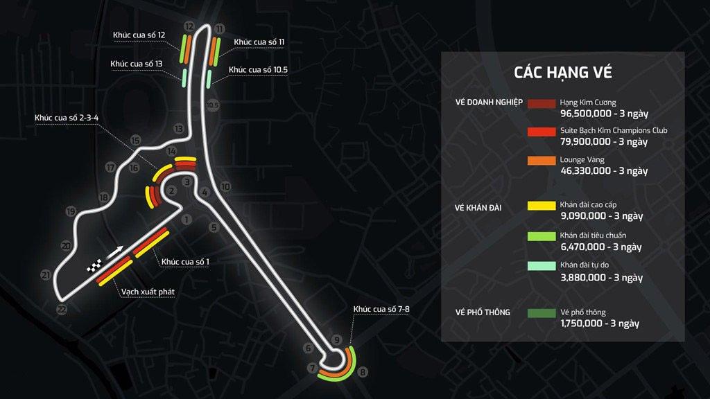 Bảng giá vé F1 tại Việt Nam